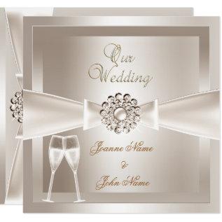 Elegant Wedding Damask Cream White Champagne Card at Zazzle