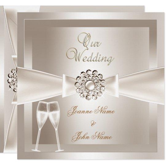 Nice Elegant Wedding Damask Cream White Champagne Card