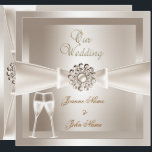 "Elegant Wedding Damask Cream White Champagne Invitation<br><div class=""desc"">Champagne Elegant Wedding Damask Cream White Silver Bow Images Set Elegant Wedding Bow Invitations traditional wedding Wedding Sets  PLEASE NOTE Bows are Images. Not suitable for Silver paper!!</div>"