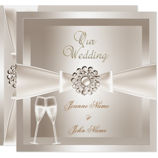 Elegant Wedding Damask Cream White Champagne Invitation Zazzle Com