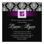 Elegant Wedding Damask Jewel Purple Black White Sq Card