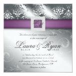 Elegant Wedding Damask Jewel Purple Silver Card