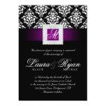 Elegant Wedding Damask Jewels Purple Black White Card
