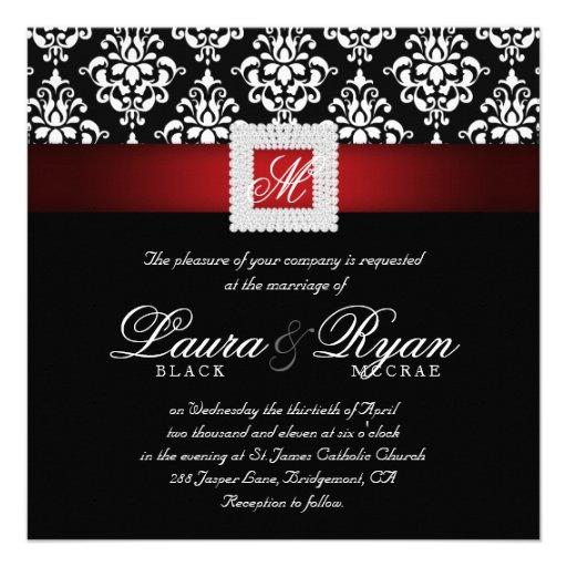 Elegant Wedding Damask Jewels Red Black White Sq Personalized Invitations
