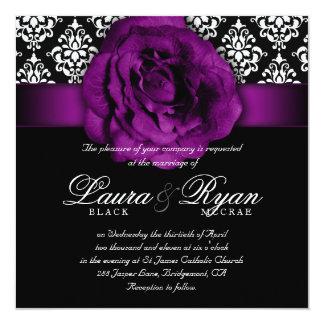 Elegant Wedding Damask Purple Rose Black White Card