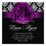 Elegant Wedding Damask Purple Rose Black White Custom Invitations