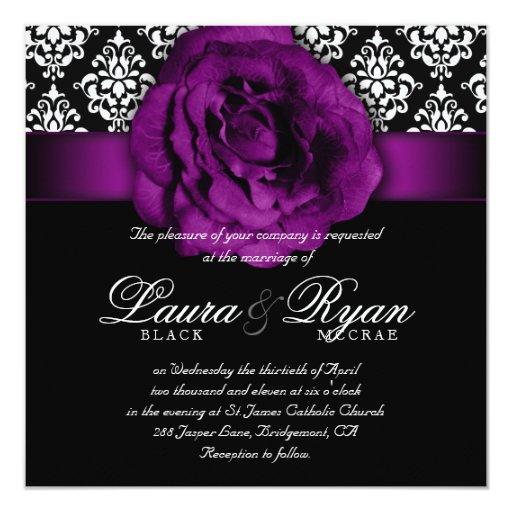 Elegant Wedding Damask Purple Rose Black White Invitation