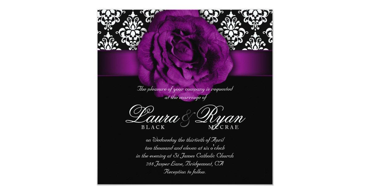 Purple Rose Wedding Invitations: Elegant Wedding Damask Purple Rose Black White Invitation