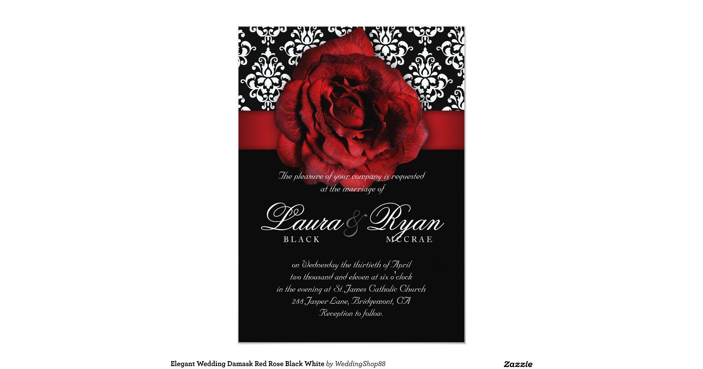 Elegant Wedding Damask Red Rose Black White 5x7 Paper