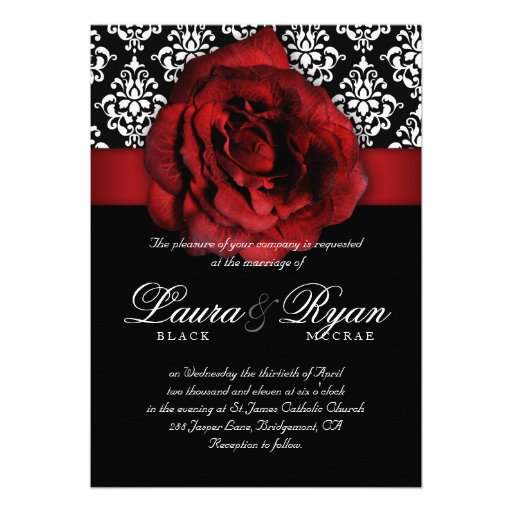 Elegant Wedding Damask Red Rose Black White 5x7 Paper Invitation Card