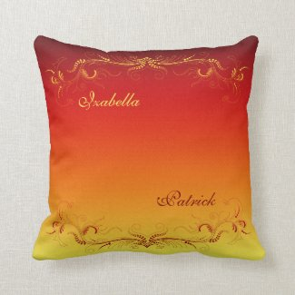 Elegant Wedding Dark Red Yellow Custom Pillow