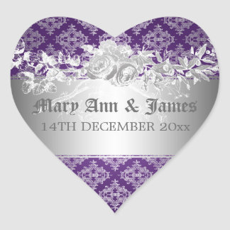 Elegant Wedding Date Baroque Flourish Purple Heart Sticker