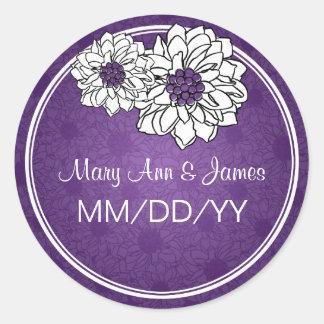 Elegant Wedding Date Dahlia Floral Purple Classic Round Sticker