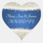 Elegant Wedding Date Dazzling Sparkles Blue Sticker