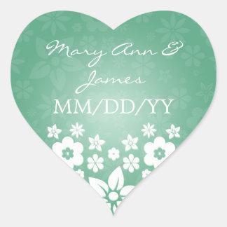 Elegant Wedding Date Flowery Heart Mint Green Heart Sticker