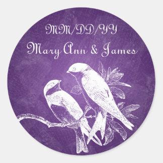 Elegant Wedding Date Love Birds Purple Stickers