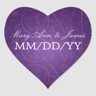 Elegant Wedding Date Love Flourish Purple Heart Sticker