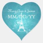 Elegant Wedding Date Romantic Paris Blue Sticker