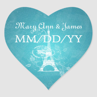 Elegant Wedding Date Romantic Paris Blue Heart Sticker