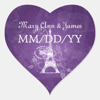 Elegant Wedding Date Romantic Paris Purple Heart Sticker
