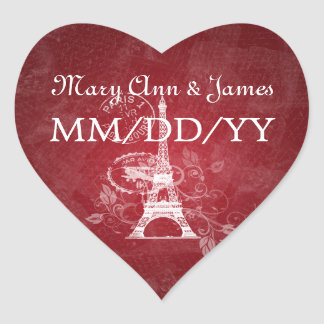 Elegant Wedding Date Romantic Paris Red Heart Stickers