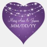 Elegant Wedding Date Sparkling Chain Purple Stickers
