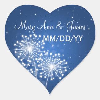 Elegant Wedding Date Summer Sparkle Sapphire Blue Heart Sticker