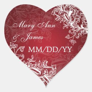 Elegant Wedding Date Vintage Swirls Red Heart Sticker