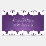 Elegant Wedding Date White Lace Purple Rectangular Stickers