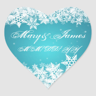 Elegant Wedding Date Winter Snowflakes Blue Heart Stickers