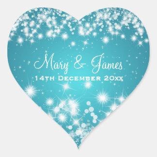 Elegant Wedding Date Winter Sparkle Blue Heart Heart Sticker