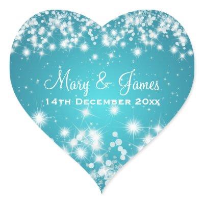 Elegant Wedding Date Winter Sparkle Blue Heart sticker