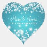 Elegant Wedding Date Winter Sparkle Blue Heart Stickers
