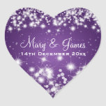 Elegant Wedding Date Winter Sparkle Purple Heart Heart Sticker