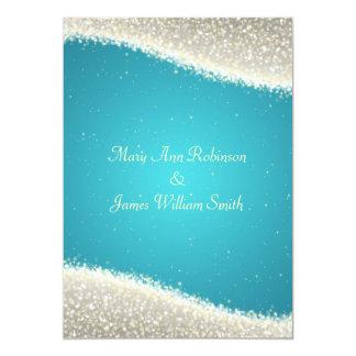 Elegant Wedding Dazzling Sparkles Turquoise Announcement