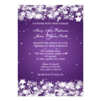 Elegant Wedding Dazzling Stars Purple Custom Announcement