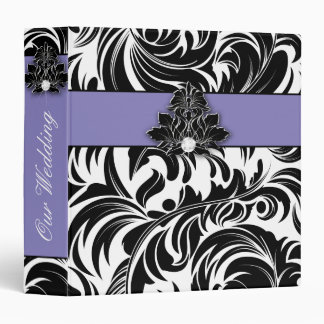 Elegant Wedding Diamond Emblem Purple Black White Binders