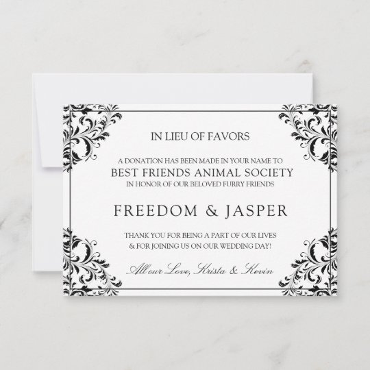 Elegant Wedding Donation Cards Black Zazzle