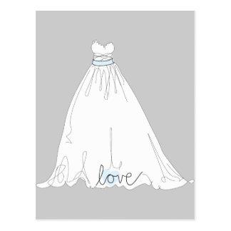 Elegant Wedding Dress Invitation Postcard