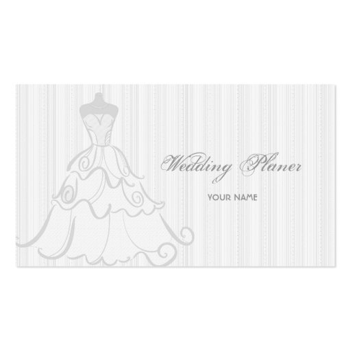 Elegant Wedding Dress White And Gray Business Cards