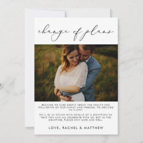 Elegant Wedding Elopement/Change of Plans Photo Announcement