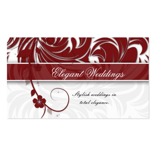 Elegant Wedding Event Planner Floral Leaf Red Business Cards
