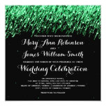 "Elegant Wedding Falling Stars ""Emerald Green"" Card"