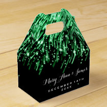 "Elegant Wedding Falling Stars ""Emerald Green"" Favor Box"
