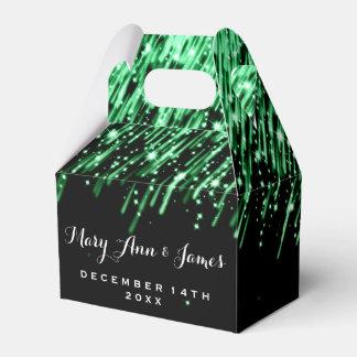 "Elegant Wedding Falling Stars ""Emerald Green"" Favor Box"
