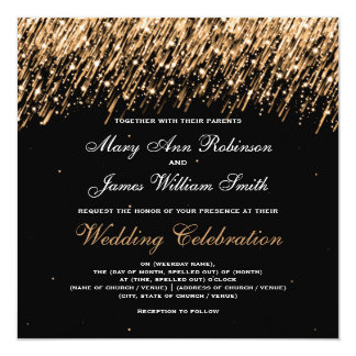Elegant Wedding Falling Stars Gold Card
