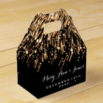 Elegant Wedding Falling Stars Gold Favor Box