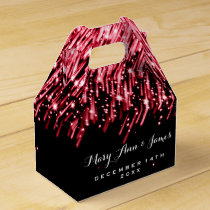 Elegant Wedding Falling Stars Red Favor Box