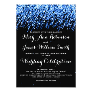 Elegant Wedding Falling Stars Sapphire Blue Card