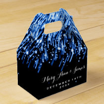 "Elegant Wedding Falling Stars ""Sapphire Blue"" Favor Box"